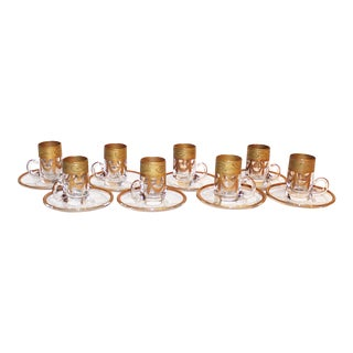 Gilt Demitasse Cups and Saucers, Set of 8