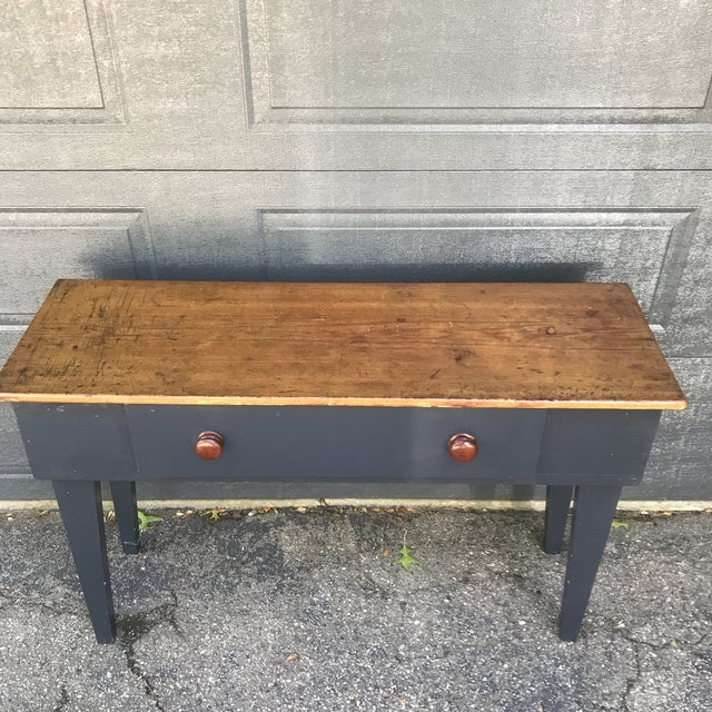 Shabby Chic Primitive Navy & Butcher Block Top Console / Island For Sale - Image 3 of 10
