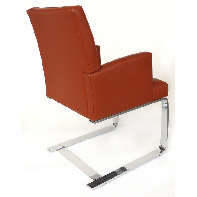 Metal De Sede of Switzerland Cantilevered Leather and Stainless Steel Chairs, '4' For Sale - Image 7 of 13