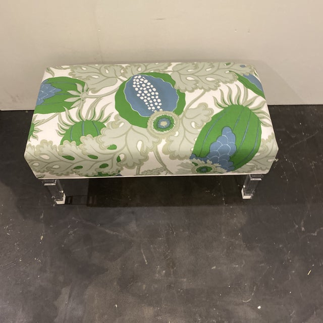 2020s Custom Bench With Lucite Legs For Sale - Image 5 of 11