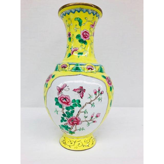 Yellow Cloisonné Floral Vase - Image 2 of 12
