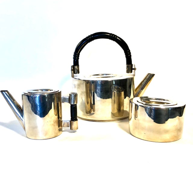 """Spectacular vintage silver plated coffee set including carafe, creamer and sugar bowl and lids, pot is 9""""x6""""x8"""", creamer..."""