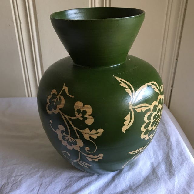 Floral Asian Bamboo Vase - Image 5 of 8