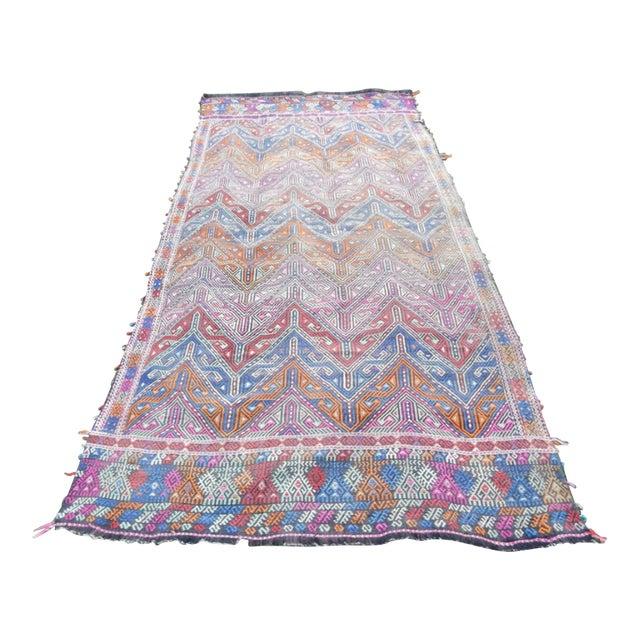 Handwoven Turkish Kilim Rug Pastel Colors Area Rug Petite Braided Kilim - 4′11″ × 9′4″ For Sale