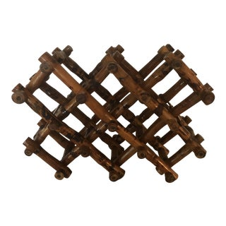 Mid-Century Scorched Bamboo Folding Wine Rack For Sale