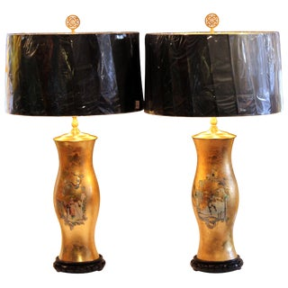 Pair of Large Eglomise Chinoiserie Gilt Decalcomania Vintage Vase Lamps For Sale