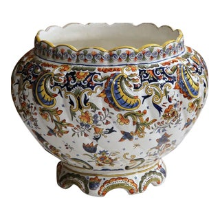 Early 20th Century French Hand-Painted Cachepot From Rouen Normandy For Sale