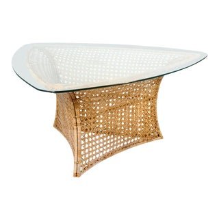Danny Ho Fong Cane Triangular Shaped Dining Table For Sale