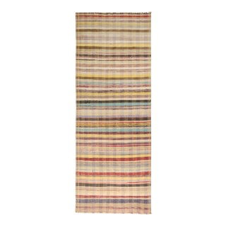 Vintage Chaput Geometric Striped Beige-Brown and Multicolor Wool Kilim Runner Rug For Sale