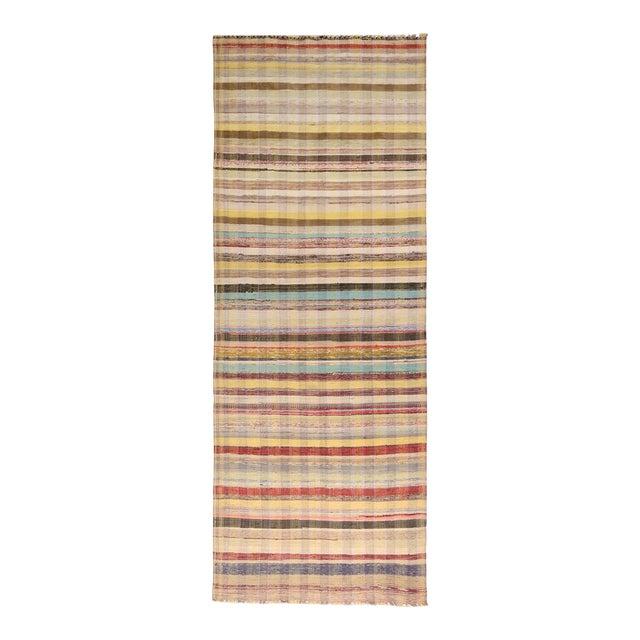Vintage Chaput Geometric Striped Beige-Brown and Multicolor Wool Kilim Runner Rug For Sale