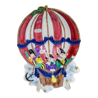 Fitz and Floyd Vintage Ballooning Bunnies Serving Dish For Sale