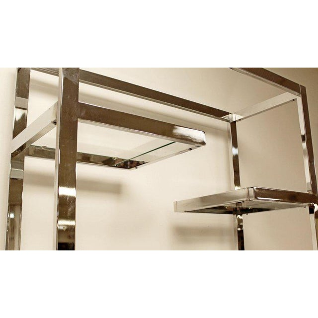 Chrome Mid-Century Modern Milo Baughman Chrome & Glass Shelves Etagere 1970s For Sale - Image 7 of 8