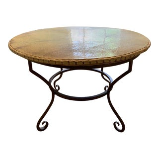 20th Century Shabby Chic Enamel & Cast Iron Dining Table For Sale