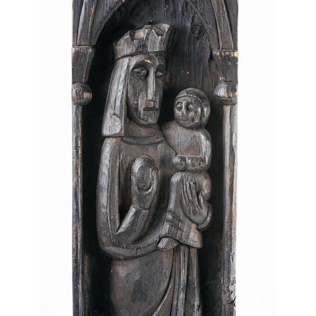 Victorian carved wood plaque with hand-etched designs, depicting religious or royalty figures. The carving features Gothic...