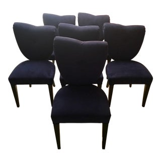 i4 Mariani Blue Suede & Black Wood Italian Modern Dining Chairs - Set of 6
