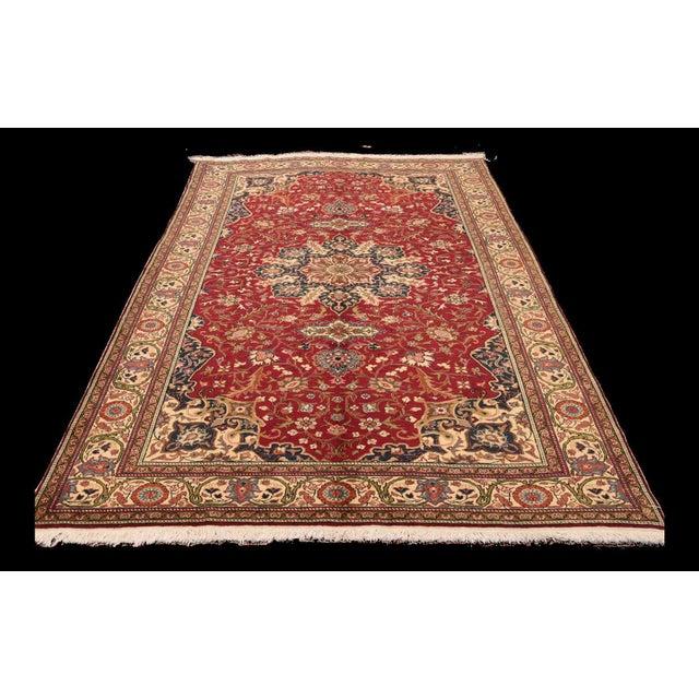 Ruby Red Vintage Turkish Handmade Wool Rug - 6′7″ × 9′10″ For Sale - Image 8 of 8