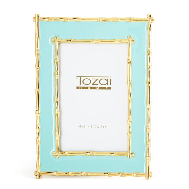 Metal Tozai Home Bamboo & Seafoam Enamel Picture Frame For Sale - Image 7 of 7