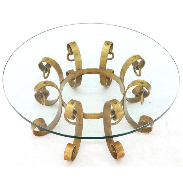 Round Decorative Gilt Wrought Iron Base Glass Top Sunburst Coffee Table For Sale - Image 10 of 13