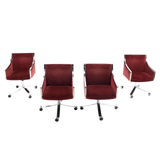 Set of Four Stow Davis Borsani Office Chairs on Heavy Stainless Steel x Bases For Sale