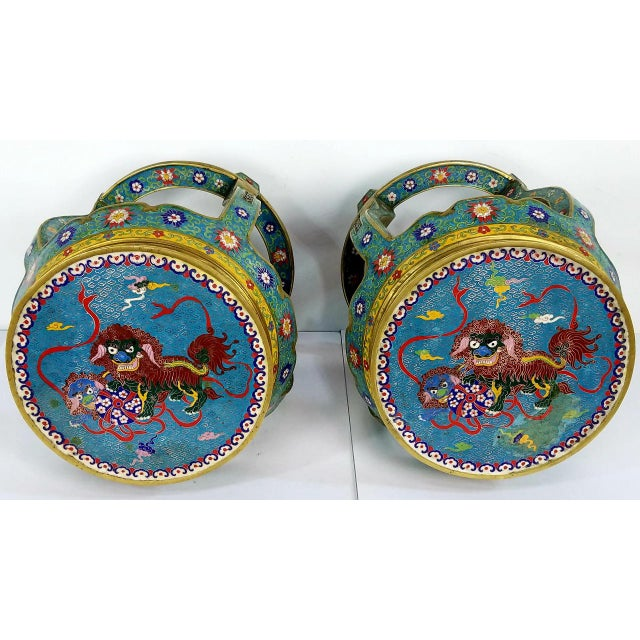 Chinese Cloisonne Bronze Stools - a Pair For Sale - Image 11 of 13