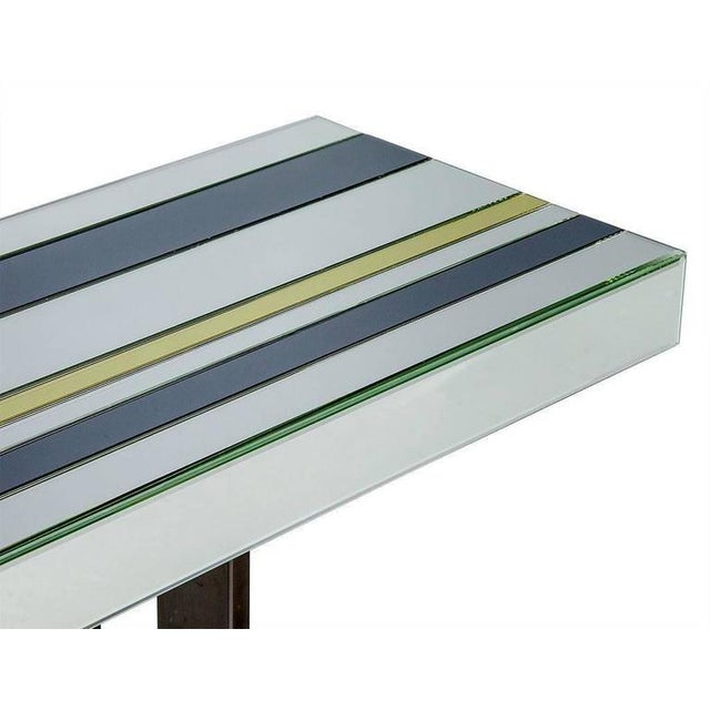 Romeo Rega 1970s Mid-Century Modern Tri Color Striped Mirror Console Table For Sale - Image 4 of 9