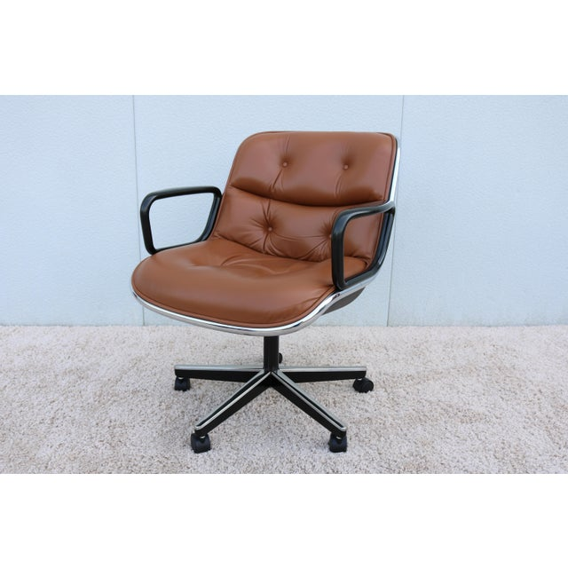 Knoll International Brown Leather Knoll Pollock Executive Chair For Sale - Image 4 of 13