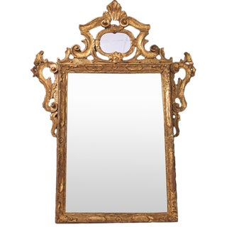 20th Century Rococo Style Gilt Wood Carved Mirror