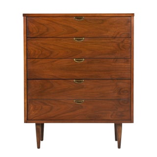 Mid-Century Modern Brass & Walnut Highboy Dresser Chest of Drawers by Bassett For Sale