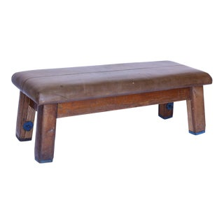 Vintage Leather Gym Bench For Sale