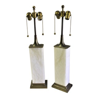 Modern Solid Alabaster Block Lamps - a Pair For Sale