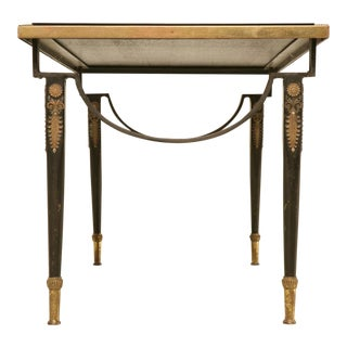 Spectacular French '40s Cocktail Table w/Black Glass Top For Sale