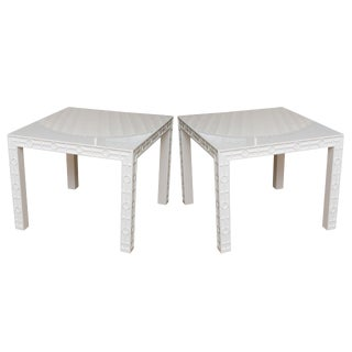 Modern White Lacquered Graphic and Sculptural Side Tables - a Pair For Sale
