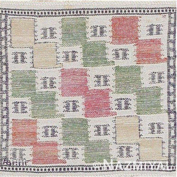 Vintage Scandinavian Rug, Origin: Sweden, Circa: Mid 20th Century – This delightful vintage Swedish rug boasts one of the...