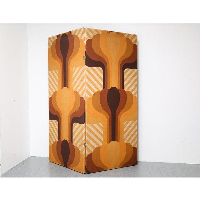 Textile Vintage 2-Panel Room Divider For Sale - Image 7 of 7