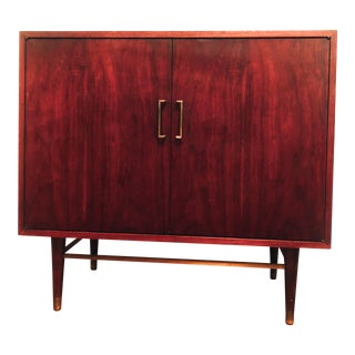 Mid-Century Modern Credenza Record Cabinet With Shelving For Sale
