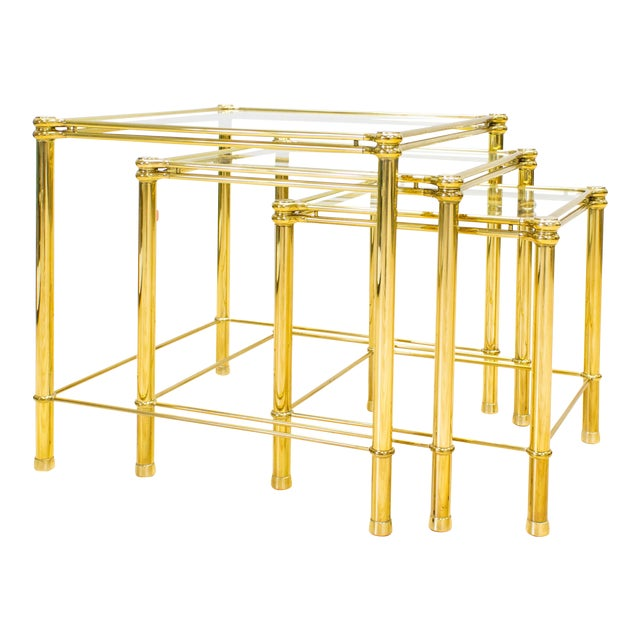 Italian Brass & Glass Nesting Tables - Set of 3 - Image 1 of 11