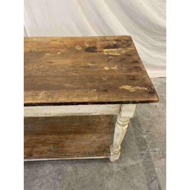 Wood Rustic French Farm Console Table - 19th C For Sale - Image 7 of 12