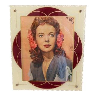 Large Vintage Art Deco Reverse Painted Picture Frame