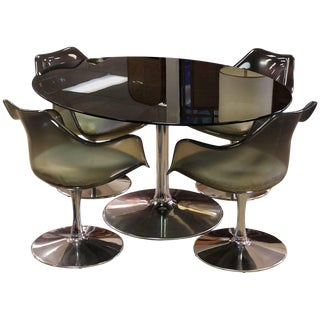 Mid-Century Modern Chromcraft Dining Set Table Four Chairs Smoked Glass Lucite