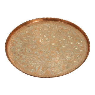 Large Turkish Hanging Copper and Brass Decorative Platter For Sale