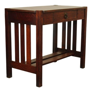 Stickley Brothers Antique Mission Oak One Drawer Console Table For Sale