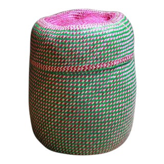 Hand-Woven Tenate Oaxacan Basket in Green and Hot Pink