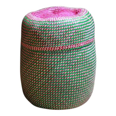 Hand-Woven Tenate Oaxacan Basket in Green and Hot Pink For Sale