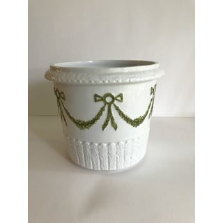 Mid 19th Century Bow Laurel Hollywood Regency Italian Ceramic Cachepot Planter Preview