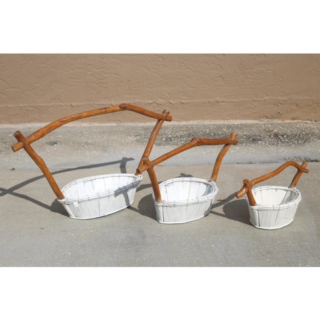 Live Edge Pagoda Top Nesting Baskets - Set of 3 For Sale - Image 9 of 10