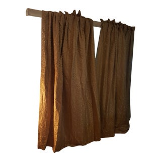 Gold Drape Panels With Tie Backs - A Pair For Sale