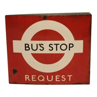 Vintage English Porcelain Double Sided Bus Stop Sign For Sale