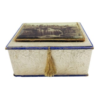 Antique Souvenir Glass Photo Jewelry Box For Sale