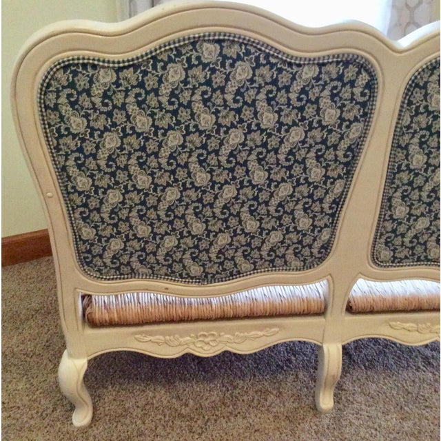 Paint Antique Styled White Country French Provential Rush Seat Settee For Sale - Image 7 of 13
