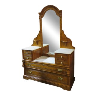 Vintage Lexington Solid Oak Drop Front Marble Top Dresser & Mirror For Sale
